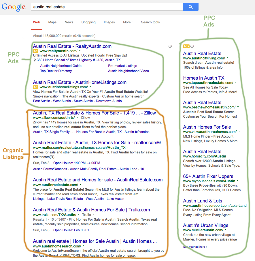 Austin SERP screenshot