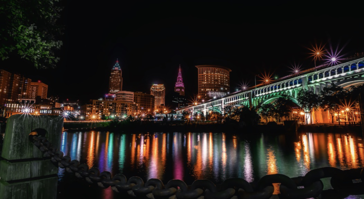 Cleveland skyline night