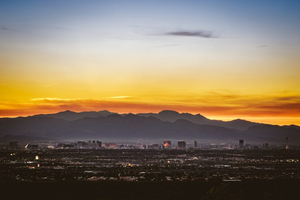 Sunset over the Las Vegas strip